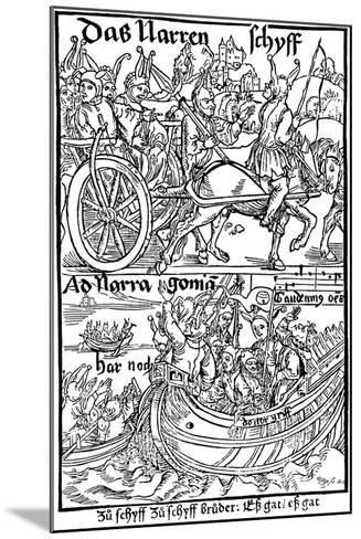 Title Page of an Edition of Ship of Fools, by Sebastian Brant, 1494-Albrecht Durer-Mounted Giclee Print