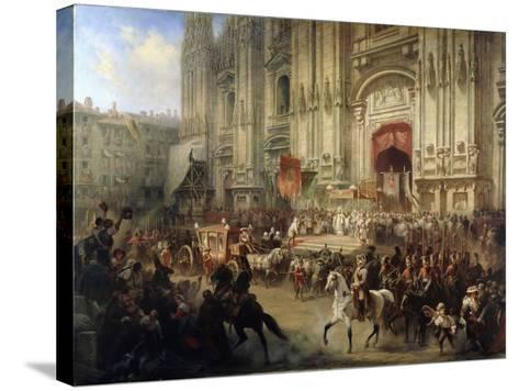 Ceremonial Reception of Field Marshal Alexander Suvorov in Milan in April 1799, 1850S-Adolf Jossifovich Charlemagne-Stretched Canvas Print
