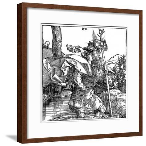 St Christopher Carrying the Infant Christ, 1511-Albrecht Durer-Framed Art Print