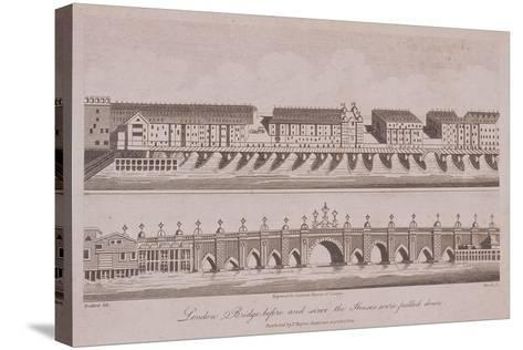 Two Views of London Bridge (Ol), London, 1805-A Birrell-Stretched Canvas Print