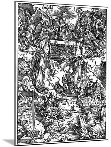 The Opening of the Seventh Seal, the Seven Angels with the Trumpets, 1498-Albrecht Durer-Mounted Giclee Print
