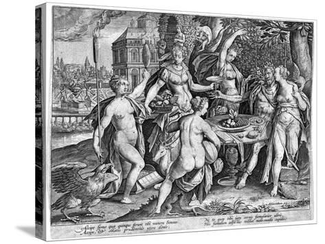 The Five Senses, Late 16th Century-Adriaen Collaert-Stretched Canvas Print