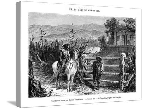 A Farm, Colombia, South America, 19th Century-A de Neuville-Stretched Canvas Print