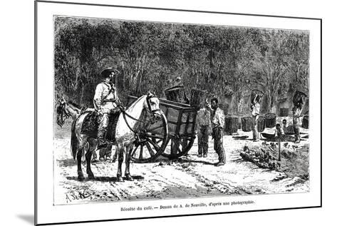 Harvesting the Coffee, Brazil, 19th Century-A de Neuville-Mounted Giclee Print
