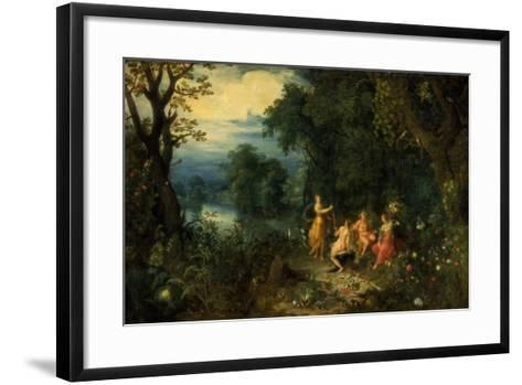 A Landscape with Wood; Diana Offers a Hare to a Nymph; Silenus and Ceres in Foreground, C1614-Abraham Govaerts-Framed Art Print