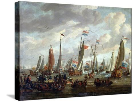 Tsar Peter I Visiting England in January 1698, Early 18th Century-Abraham Storck-Stretched Canvas Print