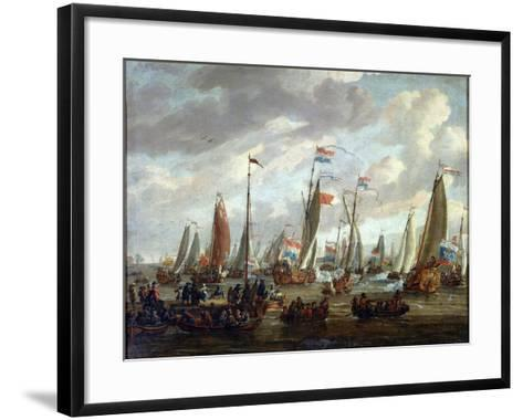 Tsar Peter I Visiting England in January 1698, Early 18th Century-Abraham Storck-Framed Art Print