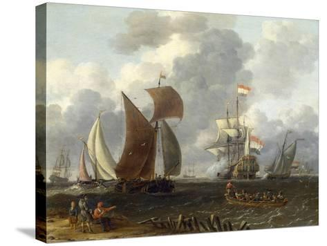 A Battle Offshore, 17th Century-Abraham Storck-Stretched Canvas Print