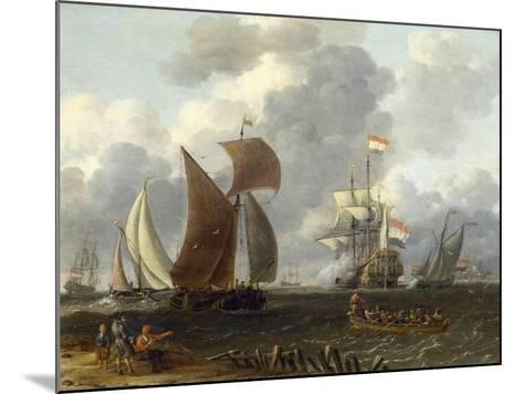 A Battle Offshore, 17th Century-Abraham Storck-Mounted Giclee Print