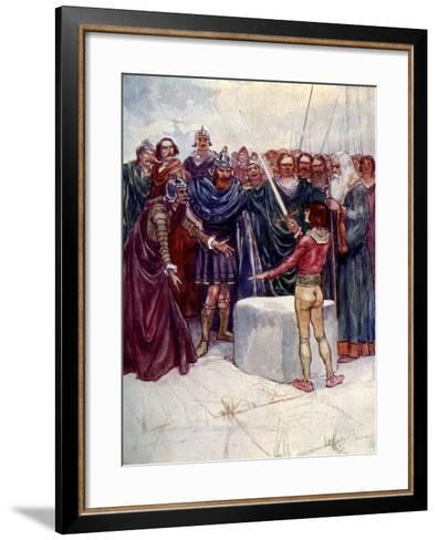 He Stood There Holding the Magic Sword in His Hand-AS Forrest-Framed Art Print