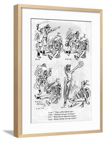 Cartoon from the Ship Board Paper the Comet, Troopship 'Rms Caronia, 1916-1917- Barret-Framed Art Print