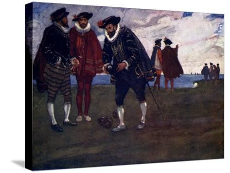 There Is Time to Finish the Game and Beat the Spaniards Too, Said Drake, 1588-AS Forrest-Stretched Canvas Print