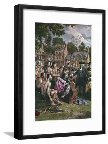 William Penn, English Quaker Colonist, Treating with Native North Americans, 1682 (1771-177)-Benjamin West-Framed Art Print