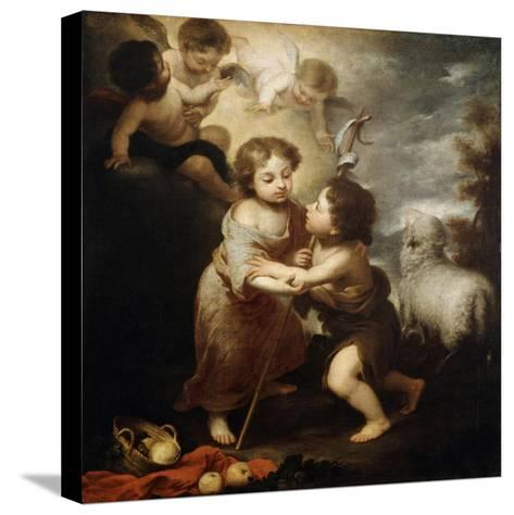 Christ and John the Baptist as Children, Between 1655 and 1660-Bartolom? Esteban Murillo-Stretched Canvas Print