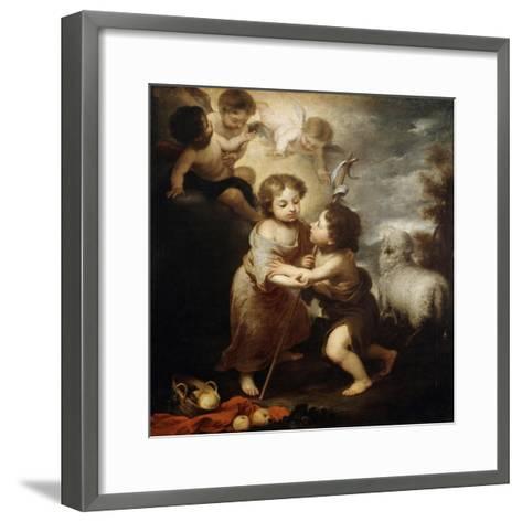Christ and John the Baptist as Children, Between 1655 and 1660-Bartolom? Esteban Murillo-Framed Art Print
