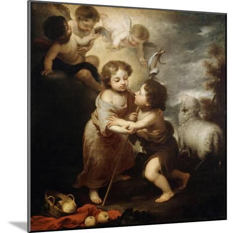 Christ and John the Baptist as Children, Between 1655 and 1660-Bartolom? Esteban Murillo-Mounted Giclee Print