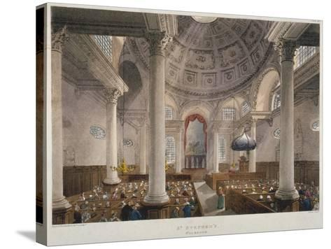 Interior of the Church of St Stephen Walbrook During a Service, City of London, 1809-Augustus Charles Pugin-Stretched Canvas Print
