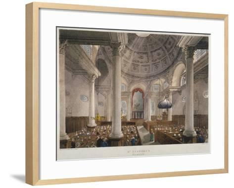 Interior of the Church of St Stephen Walbrook During a Service, City of London, 1809-Augustus Charles Pugin-Framed Art Print