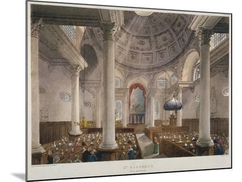 Interior of the Church of St Stephen Walbrook During a Service, City of London, 1809-Augustus Charles Pugin-Mounted Giclee Print