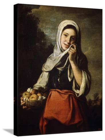 Girl Selling Fruit, C1650-C1660-Bartolom? Esteban Murillo-Stretched Canvas Print