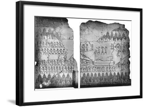 Assyrians Moving a Winged Bull, C7th Century BC, (C1900-192)-Austen Henry Layard-Framed Art Print