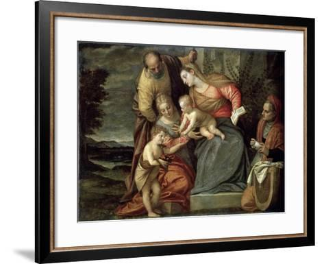 The Holy Family with Saints Catherine, Anne and John the Baptist, C1580-C1582-Benedetto Caliari-Framed Art Print