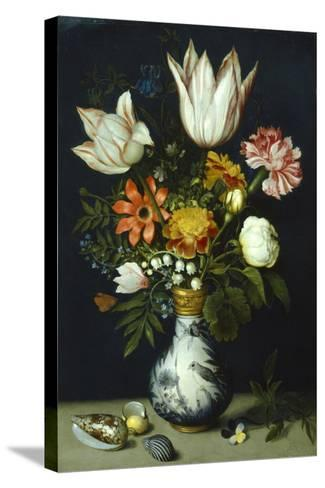 Flowers in a Porcelain Vase, C1600-Ambrosius Bosschaert-Stretched Canvas Print