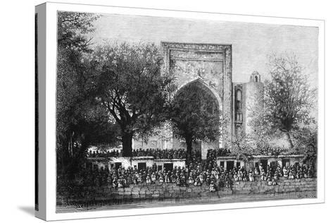 An Assembly before the Mosque in Bukhara, Uzbekistan, 1895-Armand Kohl-Stretched Canvas Print