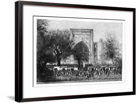 An Assembly before the Mosque in Bukhara, Uzbekistan, 1895-Armand Kohl-Framed Art Print