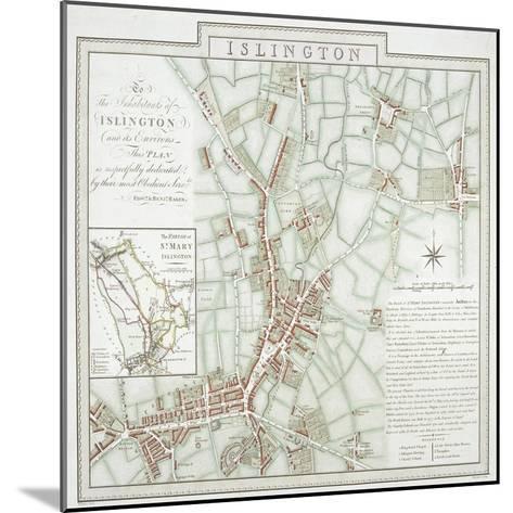 Map of the Parish of St Mary, Islington, London, 1793-Benjamin Baker-Mounted Giclee Print
