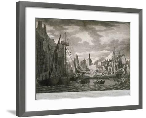 View of the Ratcliffe Area, London, Showing the Ruins after the Fire of 23 July, 1794-Benjamin Burnell-Framed Art Print