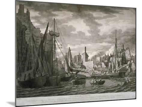 View of the Ratcliffe Area, London, Showing the Ruins after the Fire of 23 July, 1794-Benjamin Burnell-Mounted Giclee Print