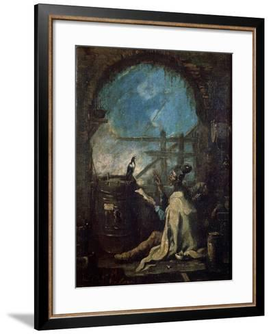 A Clown Training a Magpie, Late 17th or 18th Century-Alessandro Magnasco-Framed Art Print