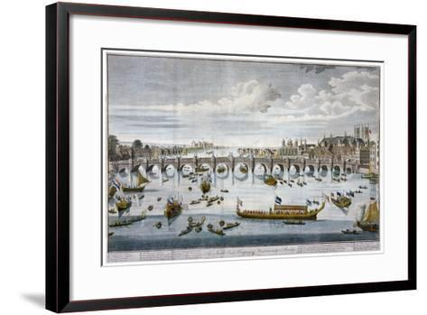 North Prospect of Westminster Bridge, London, C1750-Benjamin Cole-Framed Art Print