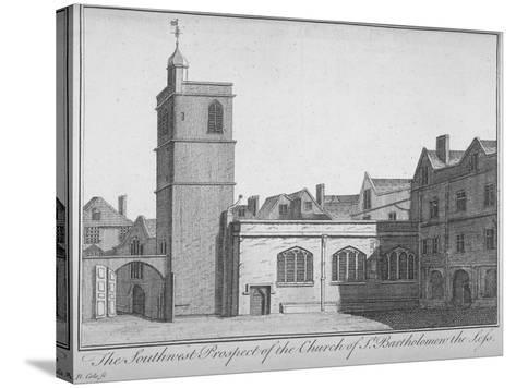 South-West View of the Church of St Bartholomew-The-Less, City of London, 1750-Benjamin Cole-Stretched Canvas Print