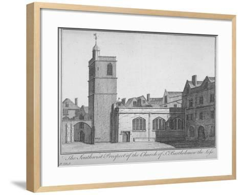 South-West View of the Church of St Bartholomew-The-Less, City of London, 1750-Benjamin Cole-Framed Art Print