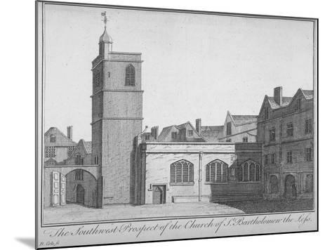 South-West View of the Church of St Bartholomew-The-Less, City of London, 1750-Benjamin Cole-Mounted Giclee Print