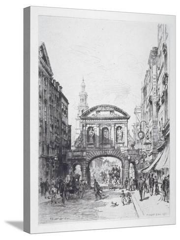 View of the East Side of Temple Bar, London, 1877-Alfred-Louis Brunet-Debaines-Stretched Canvas Print