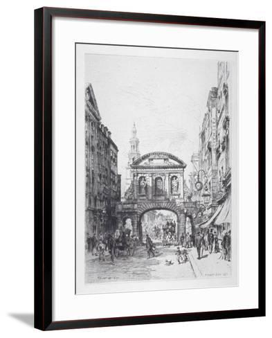 View of the East Side of Temple Bar, London, 1877-Alfred-Louis Brunet-Debaines-Framed Art Print