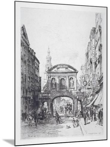 View of the East Side of Temple Bar, London, 1877-Alfred-Louis Brunet-Debaines-Mounted Giclee Print