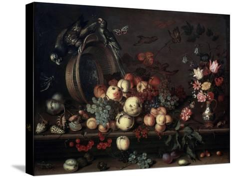 Still Life with Fruits, Flowers and Parrots, 1620S-Balthasar van der Ast-Stretched Canvas Print