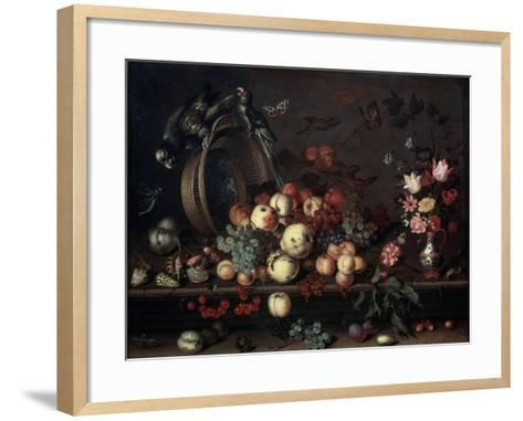 Still Life with Fruits, Flowers and Parrots, 1620S-Balthasar van der Ast-Framed Art Print