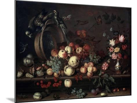 Still Life with Fruits, Flowers and Parrots, 1620S-Balthasar van der Ast-Mounted Giclee Print
