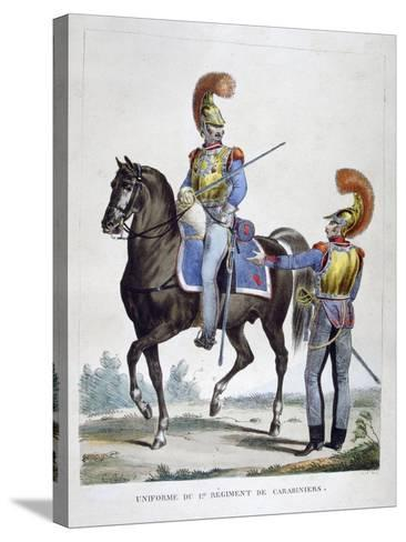 Uniform of the 1st Regiment of Carabiniers, France, 1823-Charles Etienne Pierre Motte-Stretched Canvas Print