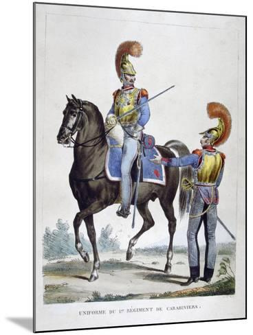 Uniform of the 1st Regiment of Carabiniers, France, 1823-Charles Etienne Pierre Motte-Mounted Giclee Print