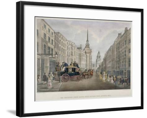 The Cambridge Coach Leaving the Nelson Inn, Belle Sauvage Yard, Ludgate Hill, London, 1818-Charles Joseph Hullmandel-Framed Art Print