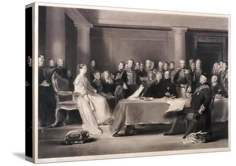 Queen Victoria Presiding at the Council on Her Accession to the Throne, 1846-Charles Fox-Stretched Canvas Print