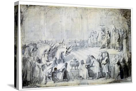 The Siamese Ambassadors before the King, 1686-Charles Le Brun-Stretched Canvas Print