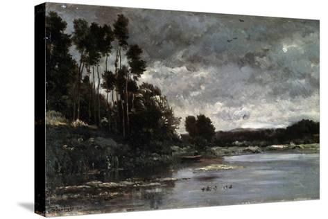 The River Bank, 1866-Charles François Daubigny-Stretched Canvas Print