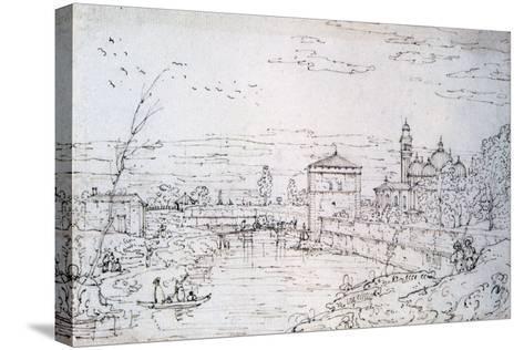 Bridge over the River and Santa Giustina, C1740-1780-Bernardo Bellotto-Stretched Canvas Print